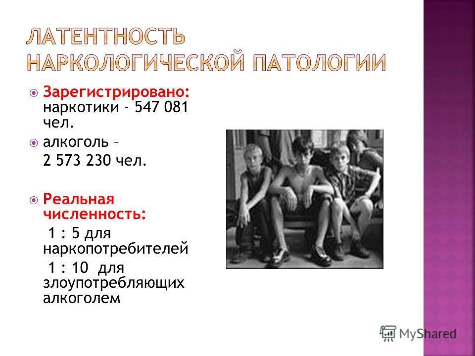 Зарегистрировано: наркотики - 547 081 чел. алкоголь – 2 573 230 чел. Реальная численность: 1 : 5 для наркопотребителей 1 : 10 для злоупотребляющих алкоголем