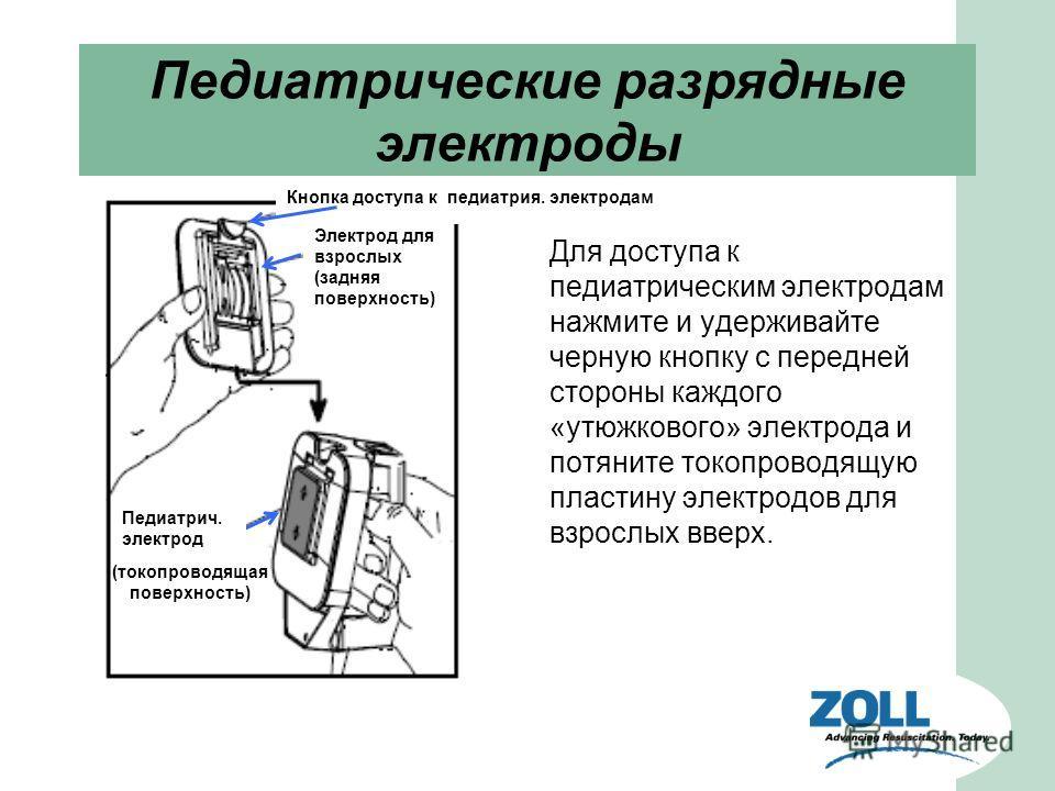 Педиатрические разрядные электроды Для доступа к педиатрическим электродам нажмите и удерживайте черную кнопку с передней стороны каждого «утюжкового» электрода и потяните токопроводящую пластину электродов для взрослых вверх. Электрод для взрослых (