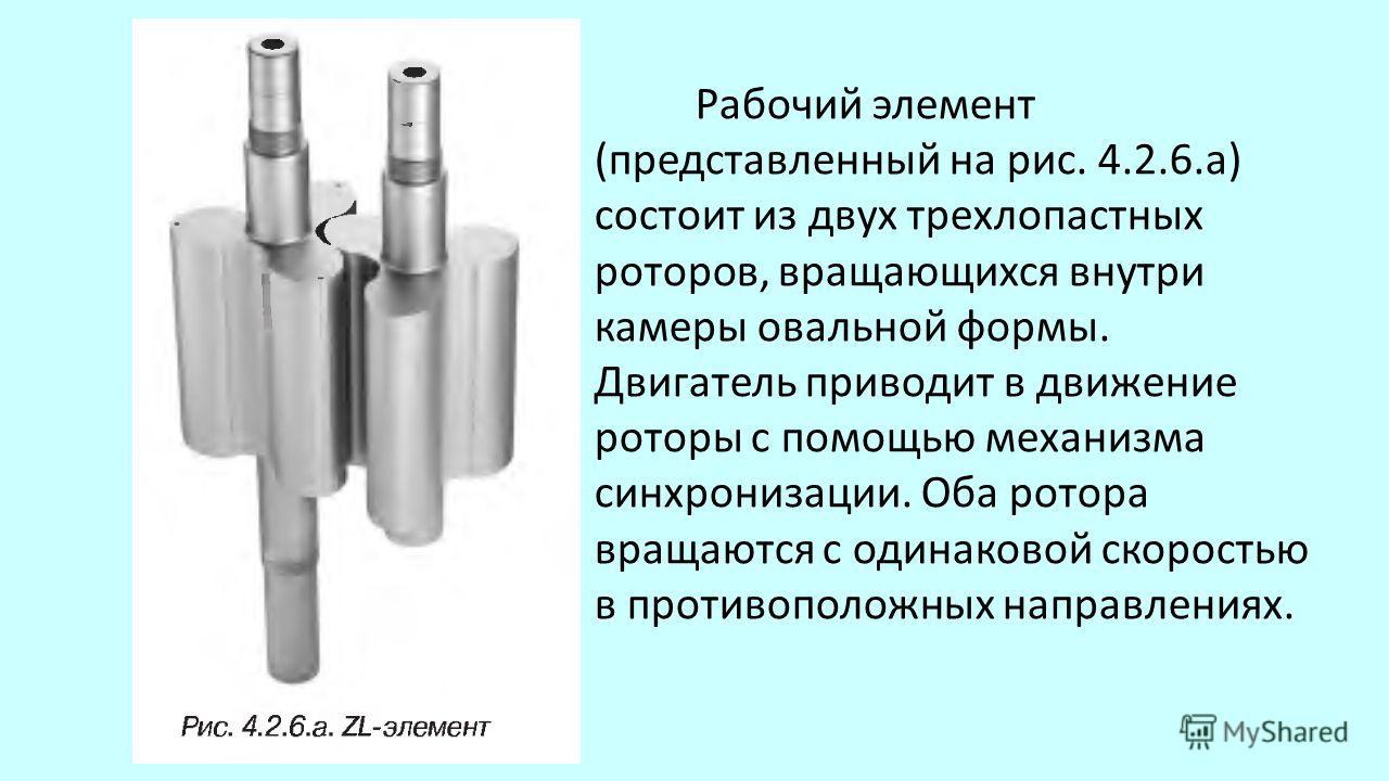 Рабочий элемент (представленный на рис. 4.2.6.а) состоит из двух трехлопастных роторов, вращающихся внутри камеры овальной формы. Двигатель приводит в движение роторы с помощью механизма синхронизации. Оба ротора вращаются с одинаковой скоростью в п