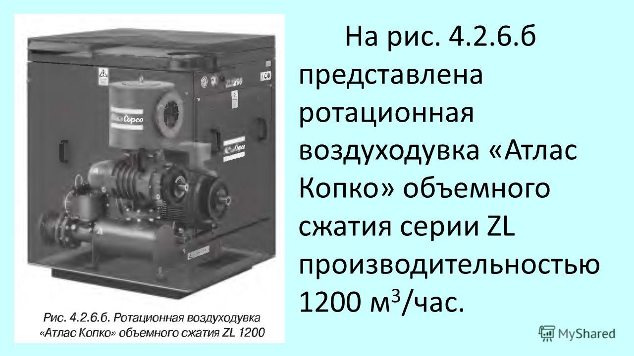 На рис. 4.2.6. б представлена ротационная воздуходувка «Атлас Копко» объемного сжатия серии ZL производительностью 1200 м 3 /час.