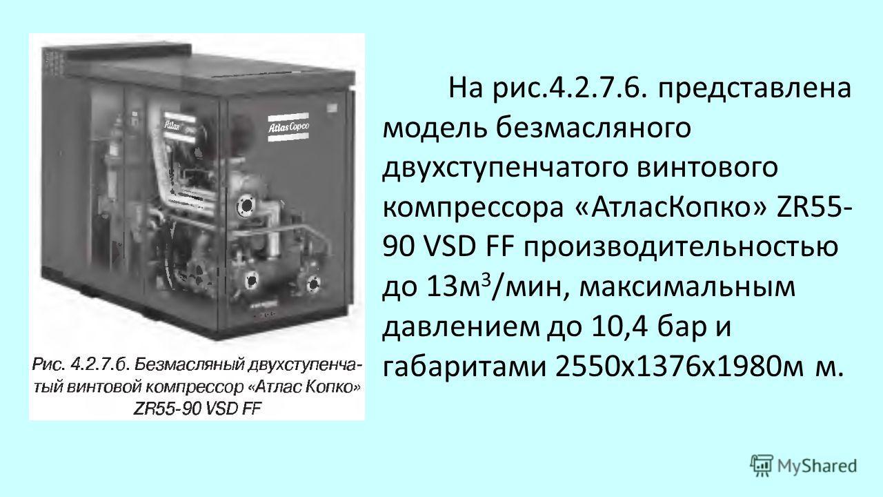 На рис.4.2.7.6. представлена модель безмасляного двухступенчатого винтового компрессора «Атлас Копко» ZR55- 90 VSD FF производительностью до 13 м 3 /мин, максимальным давлением до 10,4 бар и габаритами 2550x1376x1980 м м.