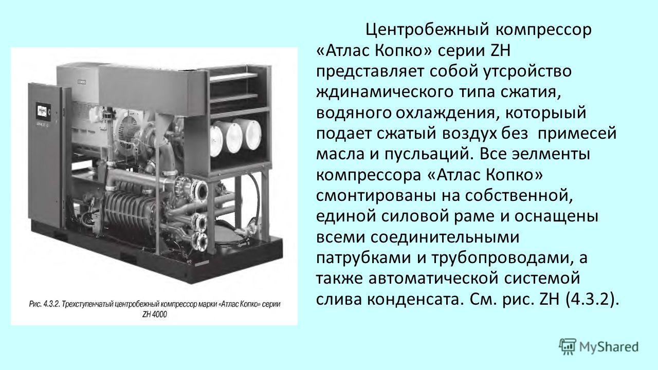 Центробежный компрессор «Атлас Копко» серии ZH представляет собой утсройство ждинамического типа сжатия, водяного охлаждения, которыый подает сжатый воздух без примесей масла и пусльаций. Все эелменты компрессора «Атлас Копко» смонтированы на собстве