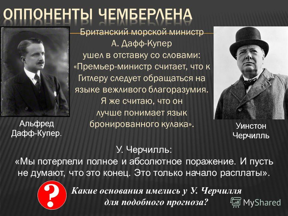 Британский морской министр А. Дафф-Купер ушел в отставку со словами: «Премьер-министр считает, что к Гитлеру следует обращаться на языке вежливого благоразумия. Я же считаю, что он лучше понимает язык бронированного кулака». Альфред Дафф-Купер. Уинст
