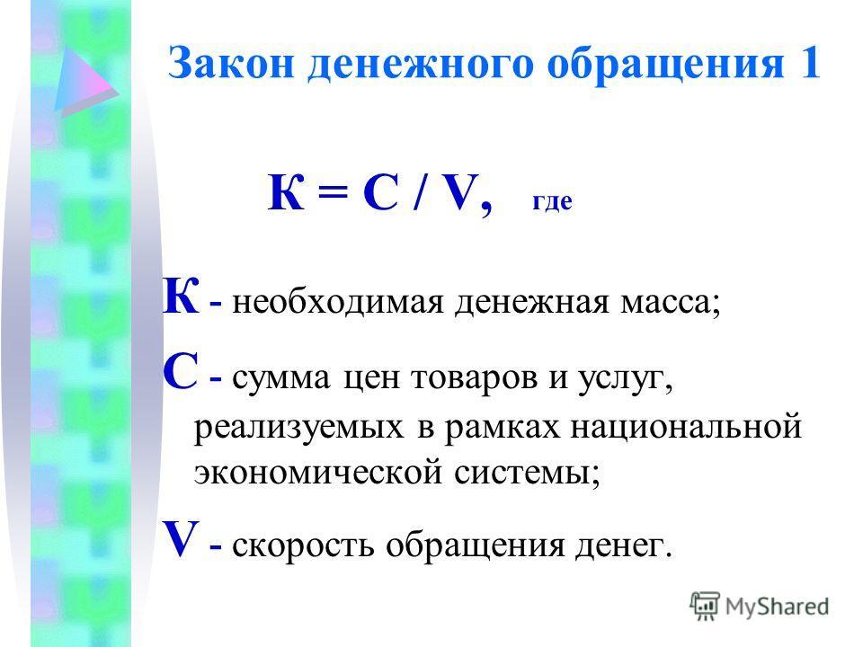 Закон денежного обращения 1 К = С / V, где К - необходимая денежная масса; С - сумма цен товаров и услуг, реализуемых в рамках национальной экономической системы; V - скорость обращения денег.