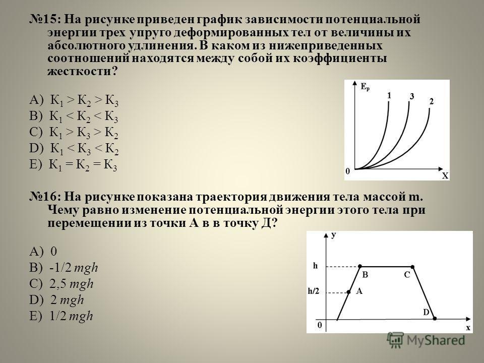 15: На рисунке приведен график зависимости потенциальной энергии трех упруго деформированных тел от величины их абсолютного удлинения. В каком из нижеприведенных соотношений находятся между собой их коэффициенты жесткости? А) К 1 > К 2 > К 3 B) К 1 <