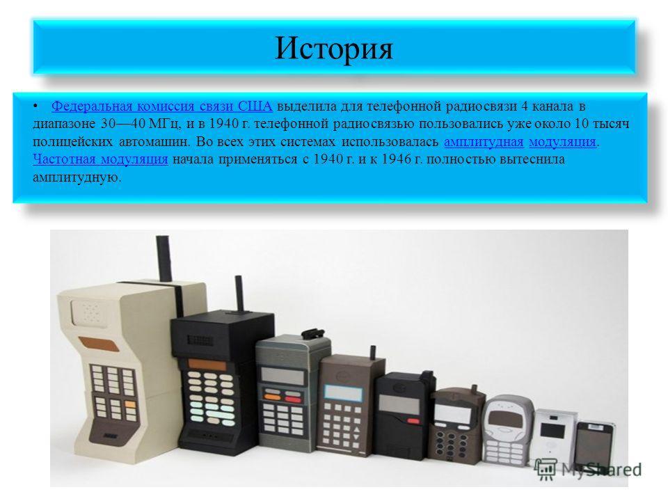 История Федеральная комиссия связи США выделила для телефонной радиосвязи 4 канала в диапазоне 3040 МГц, и в 1940 г. телефонной радиосвязью пользовались уже около 10 тысяч полицейских автомашин. Во всех этих системах использовалась амплитудная модуля