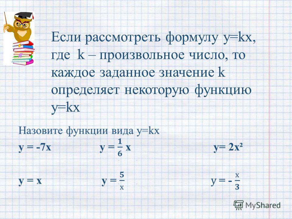 Если рассмотреть формулу y=kx, где k – произвольное число, то каждое заданное значение k определяет некоторую функцию y=kx