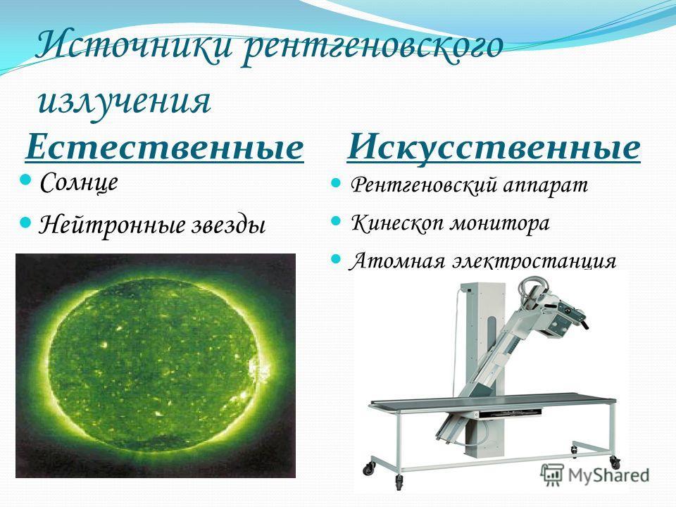 Источники рентгеновского излучения Естественные Искусственные Солнце Нейтронные звезды Рентгеновский аппарат Кинескоп монитора Атомная электростанция