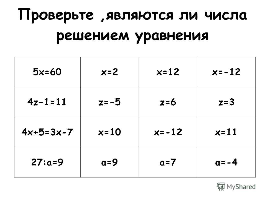 Проверьте,являются ли числа решением уравнения 5 х=60 х=2 х=12 х=-12 4z-1=11z=-5z=6z=3 4 х+5=3 х-7 х=10 х=-12 х=11 27:а=9 а=9 а=7 а=-4
