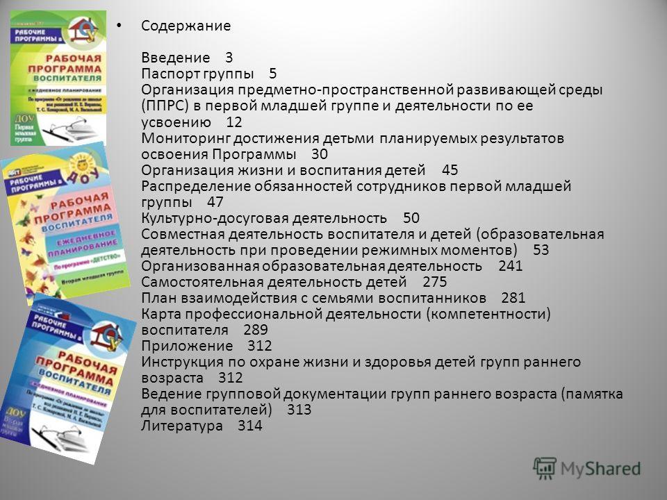 Содержание Введение 3 Паспорт группы 5 Организация предметно-пространственной развивающей среды (ППРС) в первой младшей группе и деятельности по ее усвоению 12 Мониторинг достижения детьми планируемых результатов освоения Программы 30 Организация жиз
