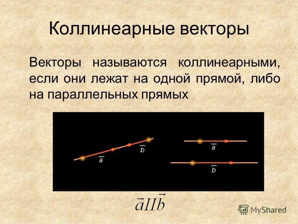 Коллинеарные векторы Векторы называются коллинеарными, если они лежат на одной прямой, либо на параллельных прямых