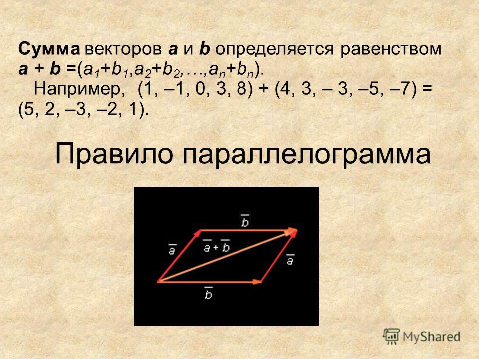Правило параллелограмма Сумма векторов а и b определяется равенством а + b =(а 1 +b 1,a 2 +b 2,…,a n +b n ). Например, (1, –1, 0, 3, 8) + (4, 3, – 3, –5, –7) = (5, 2, –3, –2, 1).