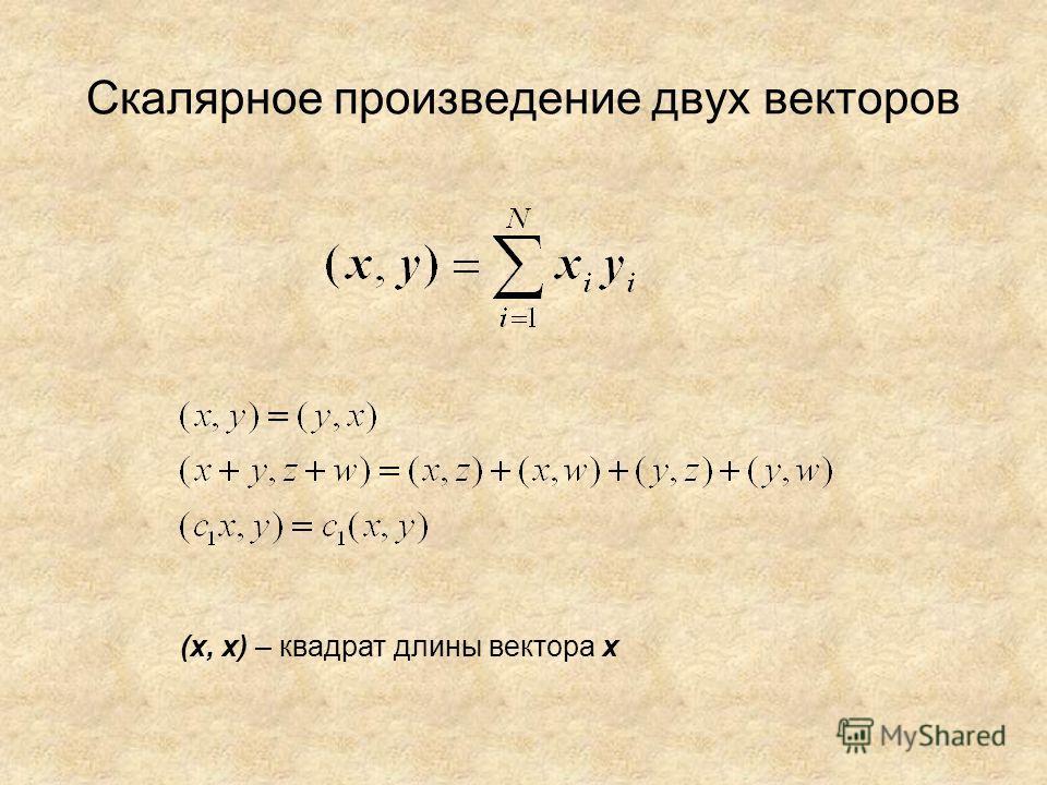 Скалярное произведение двух векторов (х, х) – квадрат длины вектора х