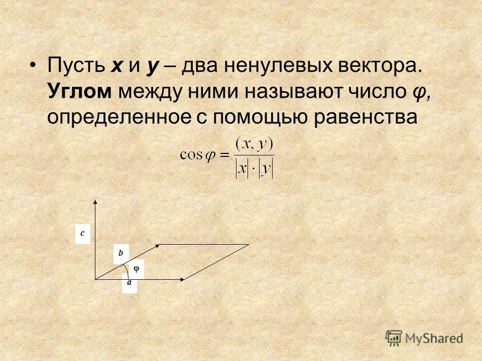 Пусть х и у – два ненулевых вектора. Углом между ними называют число φ, определенное с помощью равенства φ с b a