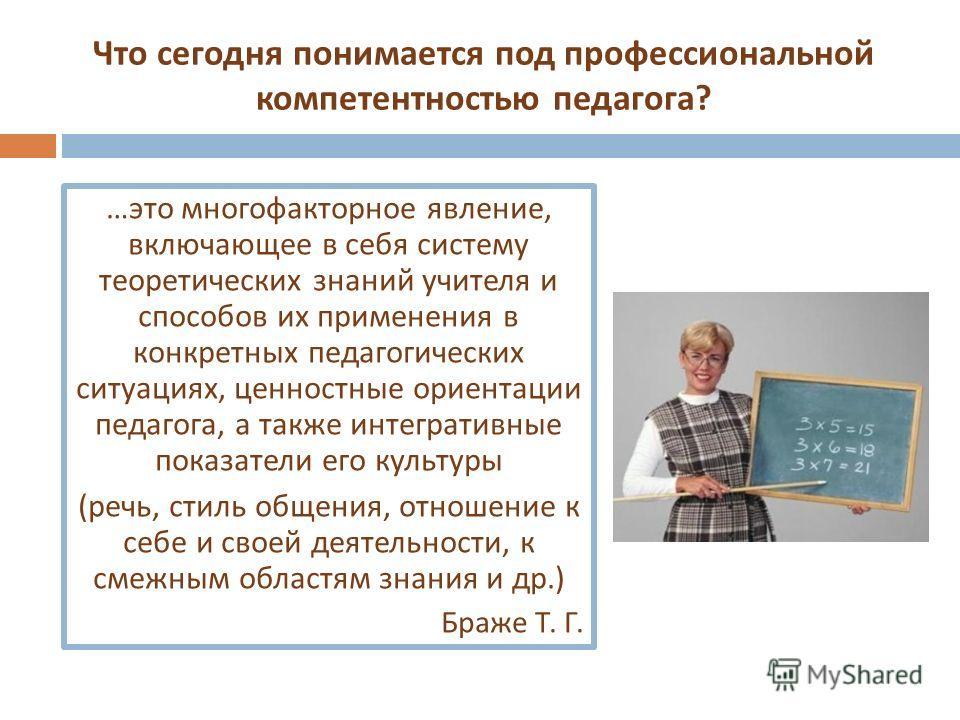 Что сегодня понимается под профессиональной компетентностью педагога ? … это многофакторное явление, включающее в себя систему теоретических знаний учителя и способов их применения в конкретных педагогических ситуациях, ценностные ориентации педагога