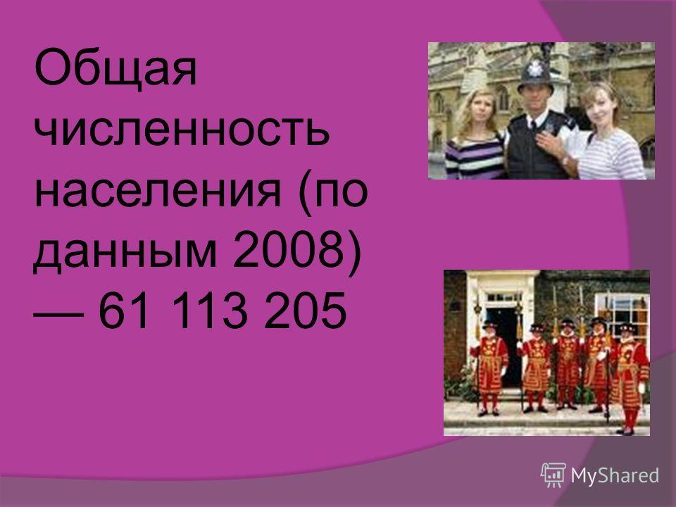 Общая численность населения (по данным 2008) 61 113 205