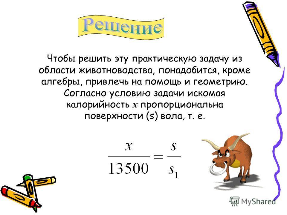 Чтобы решить эту практическую задачу из области животноводства, понадобится, кроме алгебры, привлечь на помощь и геометрию. Согласно условию задачи искомая калорийность х пропорциональна поверхности (s) вола, т. е.