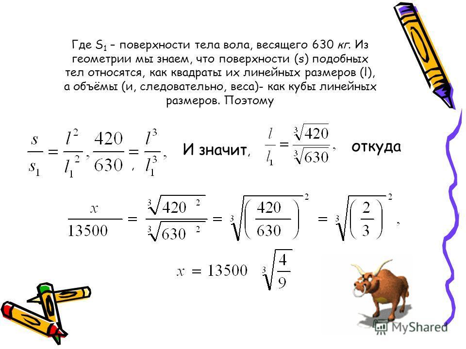 Где S 1 – поверхности тела вола, весящего 630 кг. Из геометрии мы знаем, что поверхности (s) подобных тел относятся, как квадраты их линейных размеров (l), а объёмы (и, следовательно, веса)- как кубы линейных размеров. Поэтому, И значит, откуда