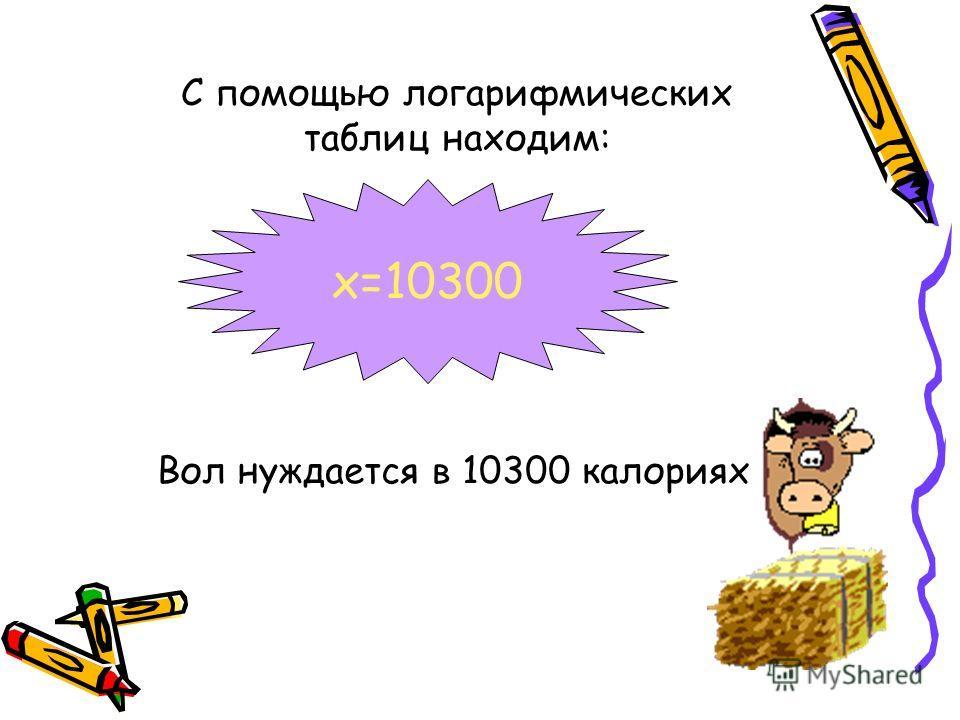 С помощью логарифмических таблиц находим: Вол нуждается в 10300 калориях x=10300