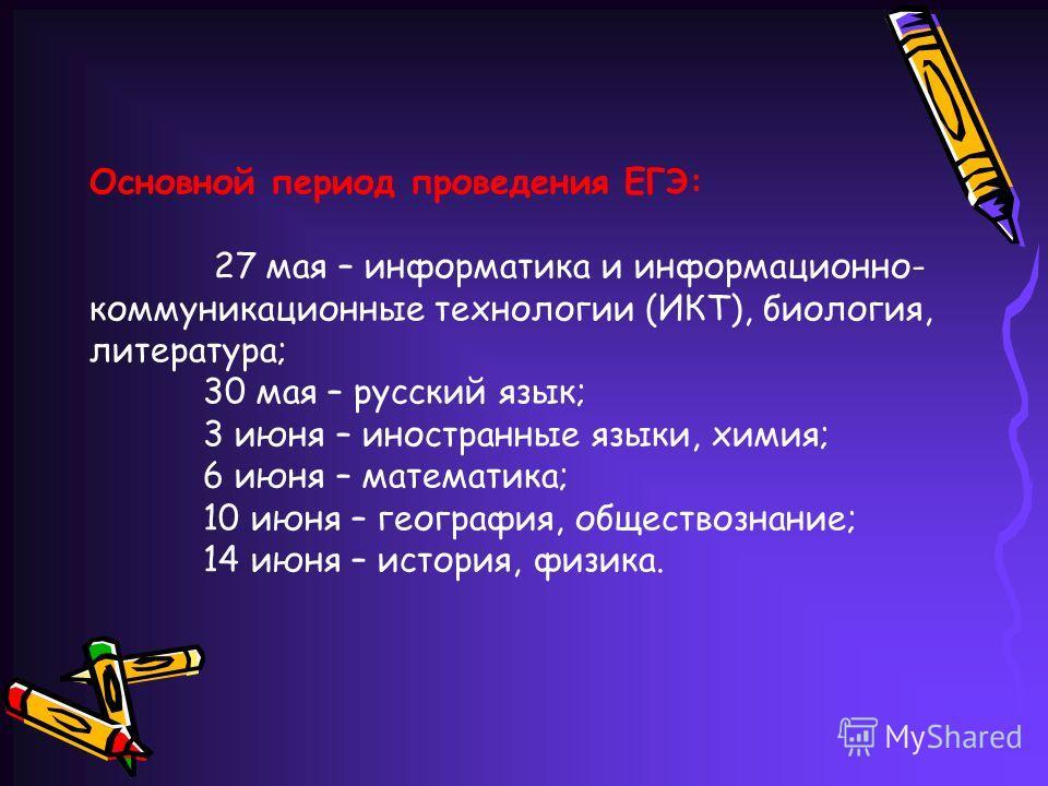 Основной период проведения ЕГЭ: 27 мая – информатика и информационно- коммуникационные технологии (ИКТ), биология, литература; 30 мая – русский язык; 3 июня – иностранные языки, химия; 6 июня – математика; 10 июня – география, обществознание; 14 июня