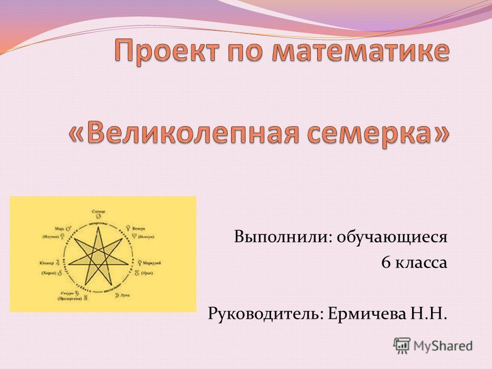 Выполнили: обучающиеся 6 класса Руководитель: Ермичева Н.Н.