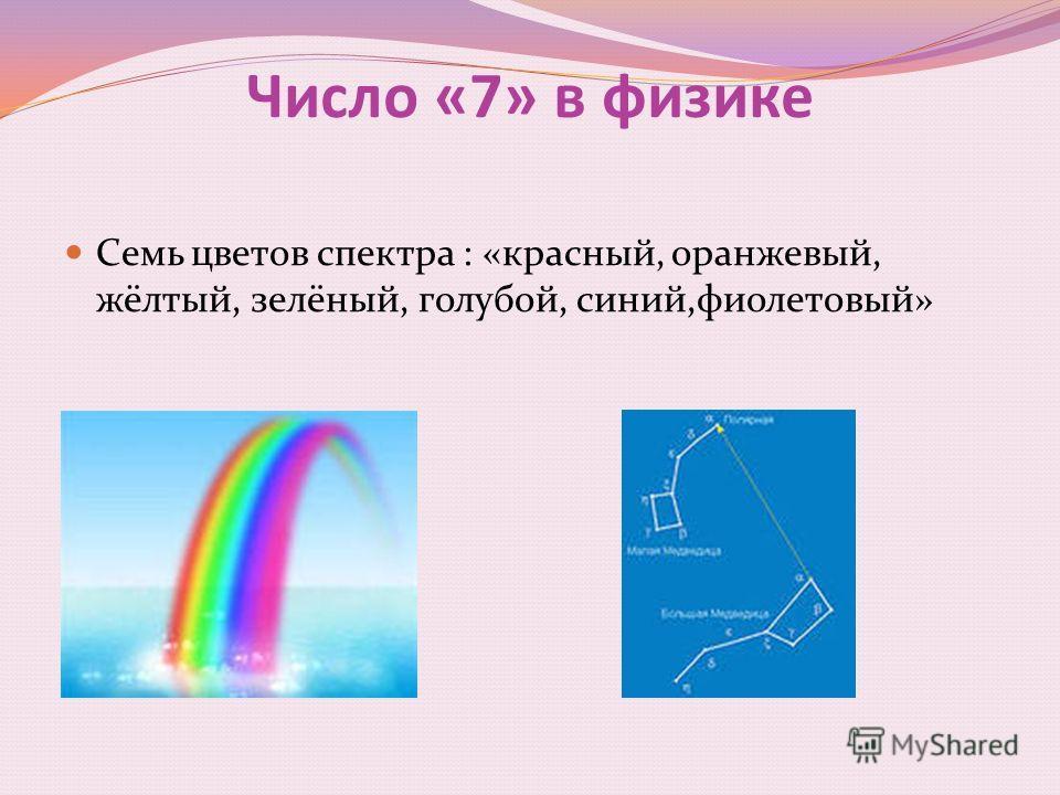 Число «7» в физике Семь цветов спектра : «красный, оранжевый, жёлтый, зелёный, голубой, синий,фиолетовый»