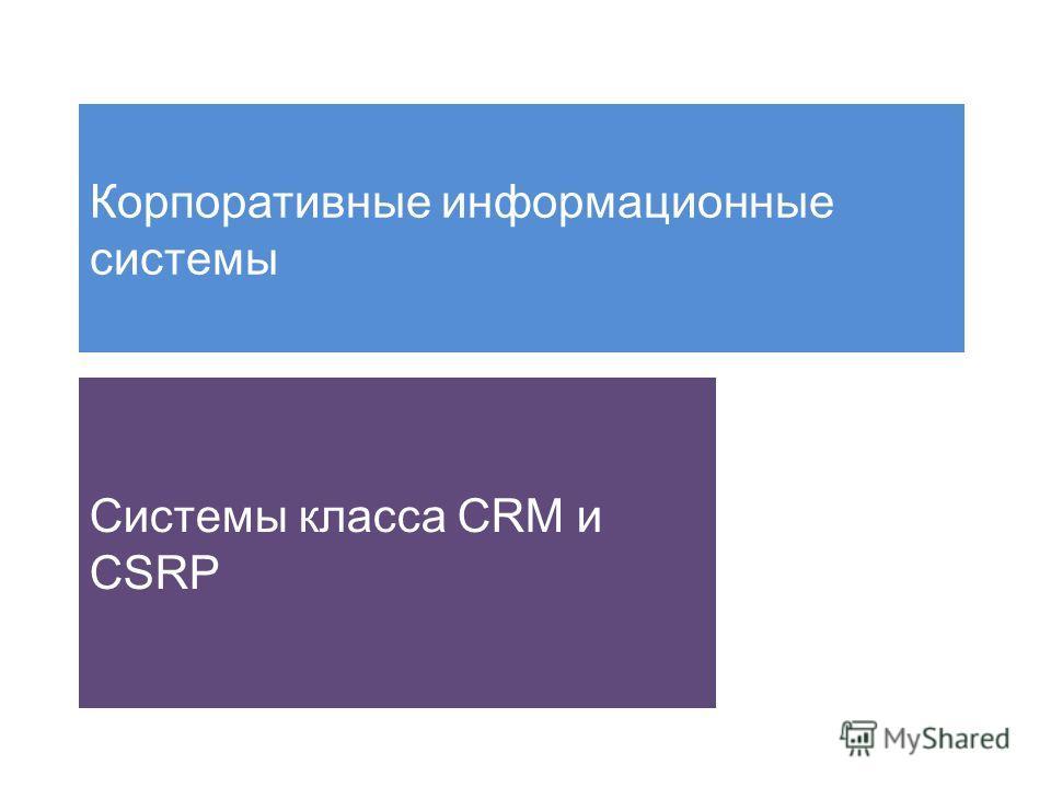 Корпоративные информационные системы Системы класса CRM и CSRP