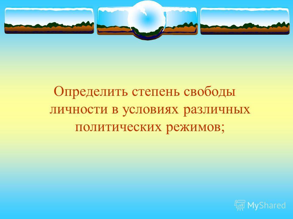 Определить степень свободы личности в условиях различных политических режимов;