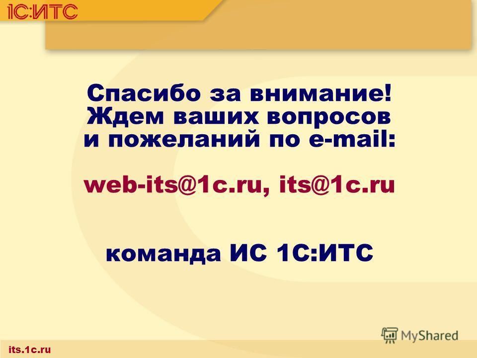 Спасибо за внимание! Ждем ваших вопросов и пожеланий по e-mail: web-its@1c.ru, its@1c.ru команда ИС 1С:ИТС its.1c.ru
