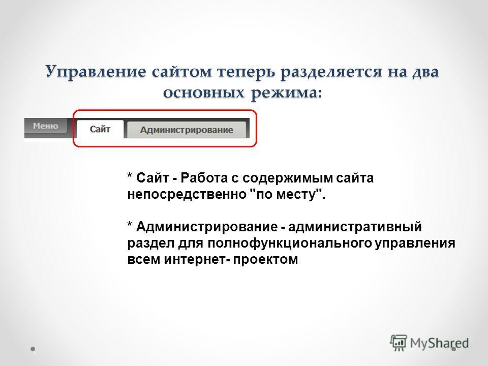 Управление сайтом теперь разделяется на два основных режима: * Сайт - Работа с содержимым сайта непосредственно по месту. * Администрирование - административный раздел для полнофункционального управления всем интернет- проектом