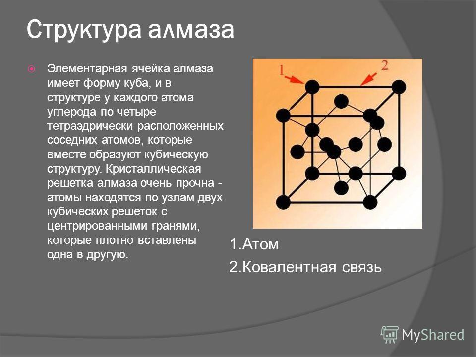 Структура алмаза Элементарная ячейка алмаза имеет форму куба, и в структуре у каждого атома углерода по четыре тетраэдрически расположенных соседних атомов, которые вместе образуют кубическую структуру. Кристаллическая решетка алмаза очень прочна - а