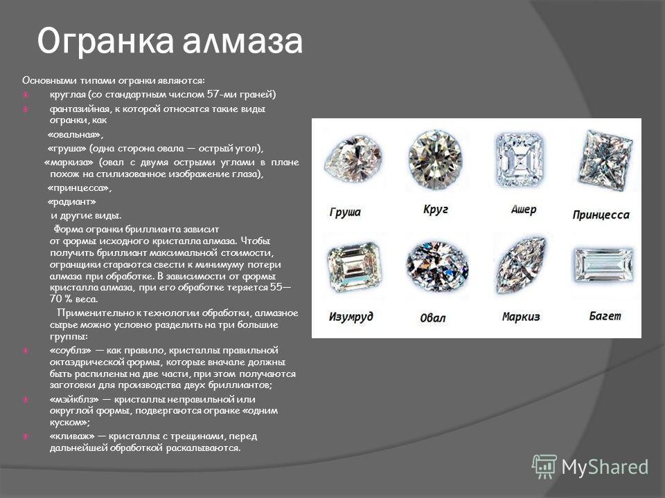 Огранка алмаза Основными типами огранки являются: круглая (со стандартным числом 57-ми граней) фантазийная, к которой относятся такие виды огранки, как «овальная», «груша» (одна сторона овала острый угол), «маркиза» (овал с двумя острыми углами в пла
