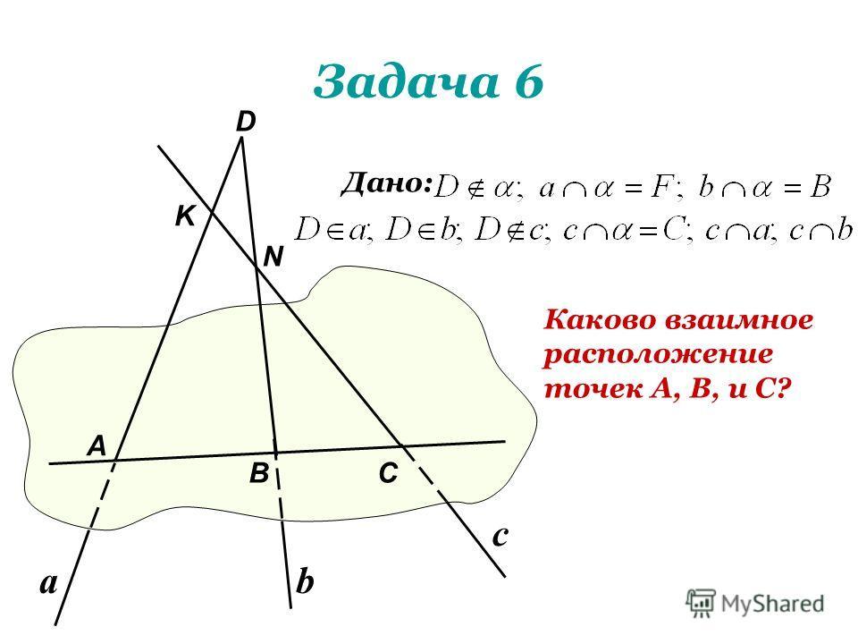 Задача 6 Каково взаимное расположение точек А, В, и С? Дано: А В D С N K аb c