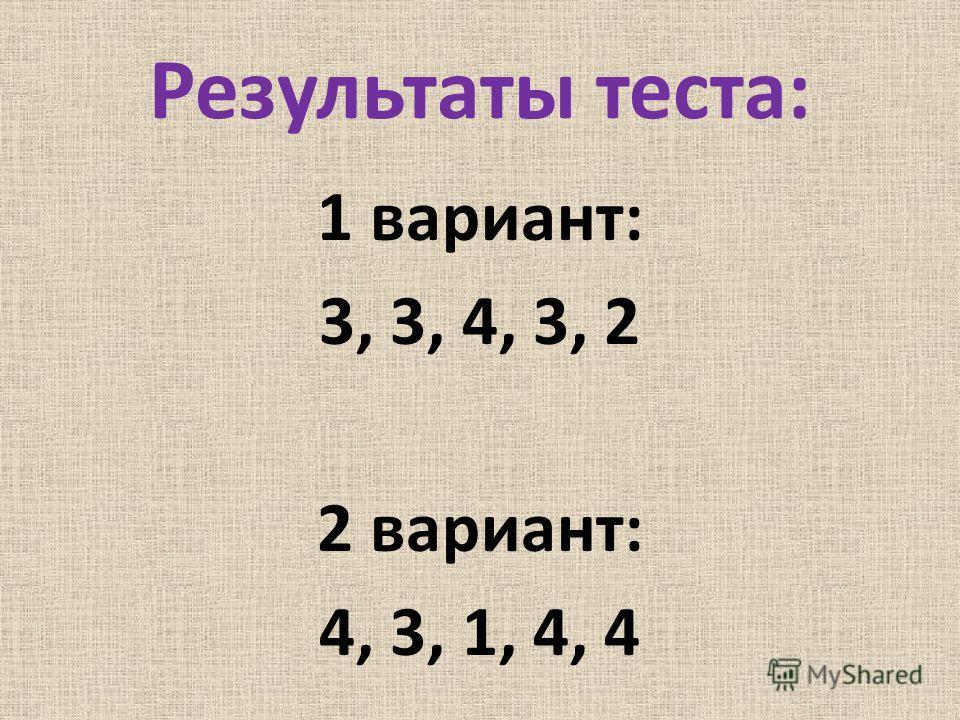 Результаты теста: 1 вариант: 3, 3, 4, 3, 2 2 вариант: 4, 3, 1, 4, 4