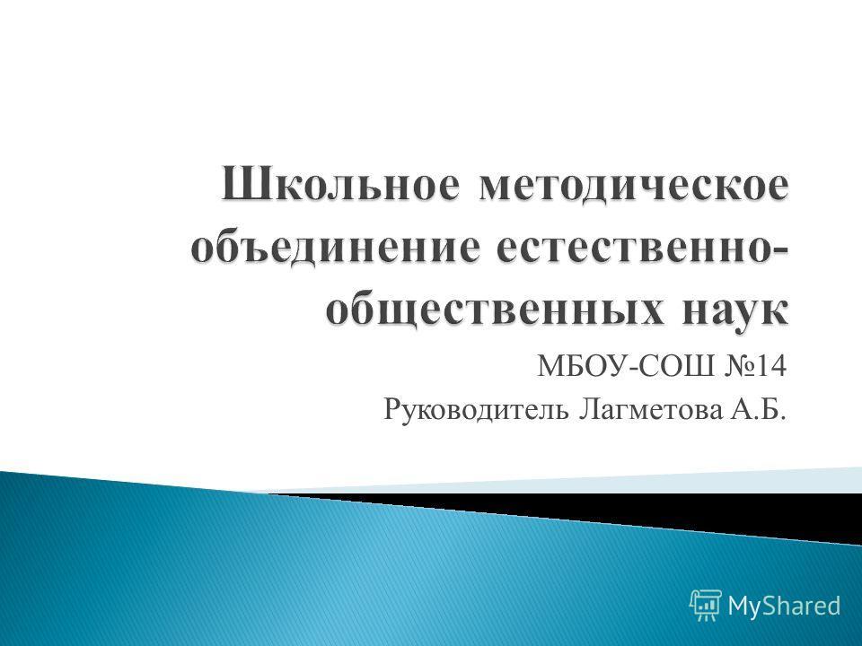 МБОУ-СОШ 14 Руководитель Лагметова А.Б.