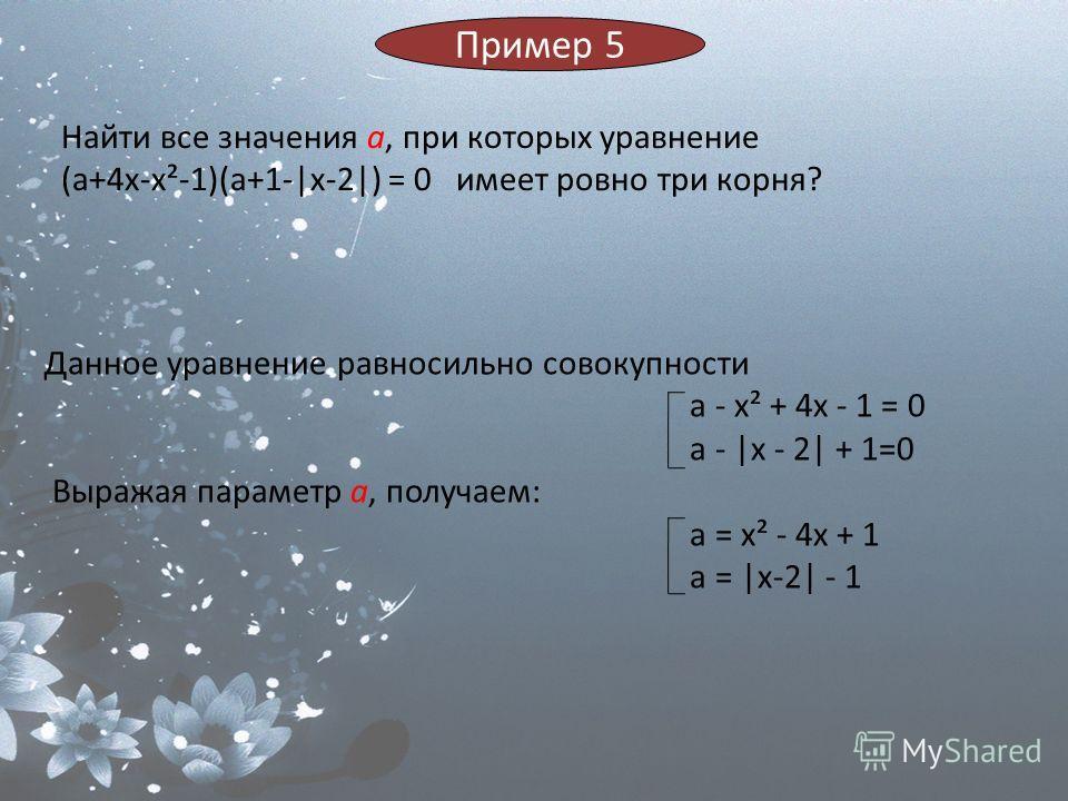 Найти все значения а, при которых уравнение (a+4x-x²-1)(a+1-|x-2|) = 0 имеет ровно три корня? Данное уравнение равносильно совокупности a - x² + 4x - 1 = 0 a - |x - 2| + 1=0 Выражая параметр а, получаем: a = x² - 4x + 1 a = |x-2| - 1 Пример 5
