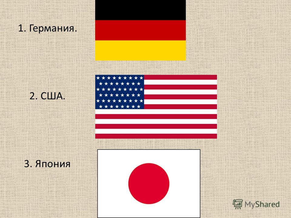 1. Германия. 2. США. 3. Япония