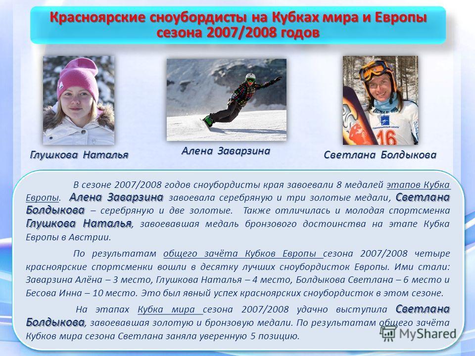 Алена Заварзина Светлана Болдыкова Глушкова Наталья В сезоне 2007/2008 годов сноубордисты края завоевали 8 медалей этапов Кубка Европы. Алена Заварзина завоевала серебряную и три золотые медали, Светлана Болдыкова – серебряную и две золотые. Также от