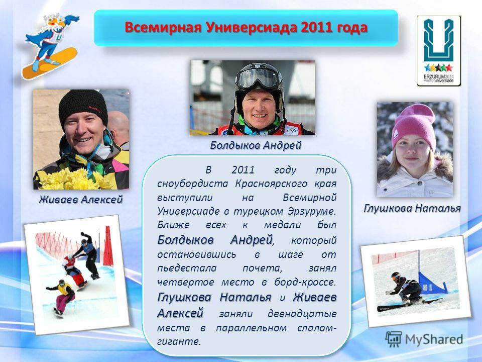 Болдыков Андрей Глушкова Наталья Живаев Алексей В 2011 году три сноубордиста Красноярского края выступили на Всемирной Универсиаде в турецком Эрзуруме. Ближе всех к медали был Болдыков Андрей, который остановившись в шаге от пьедестала почета, занял