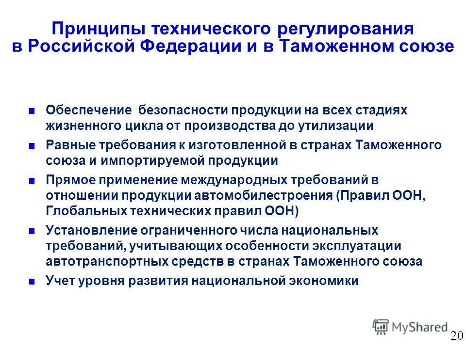 Принципы технического регулирования в Российской Федерации и в Таможенном союзе Обеспечение безопасности продукции на всех стадиях жизненного цикла от производства до утилизации Равные требования к изготовленной в странах Таможенного союза и импортир