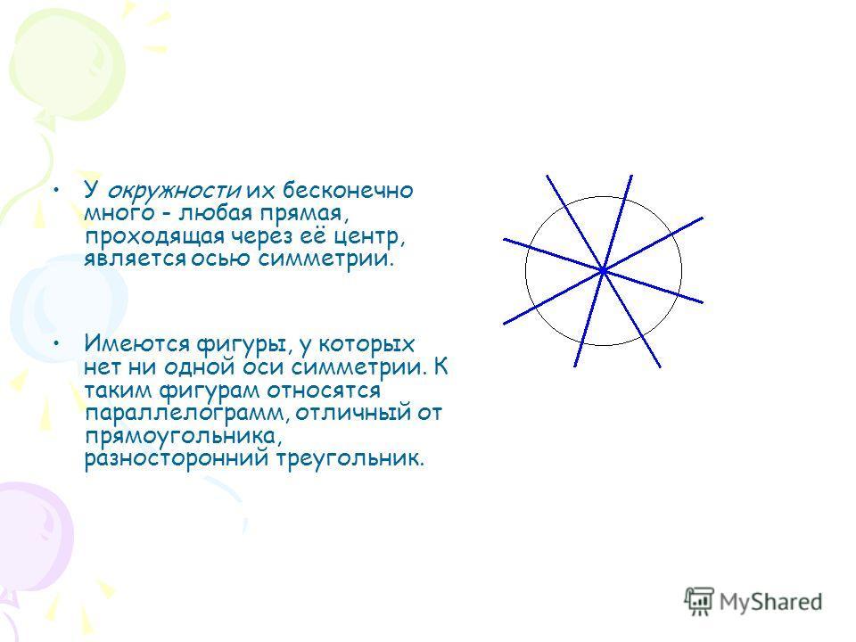 У окружности их бесконечно много - любая прямая, проходящая через её центр, является осью симметрии. Имеются фигуры, у которых нет ни одной оси симметрии. К таким фигурам относятся параллелограмм, отличный от прямоугольника, разносторонний треугольни