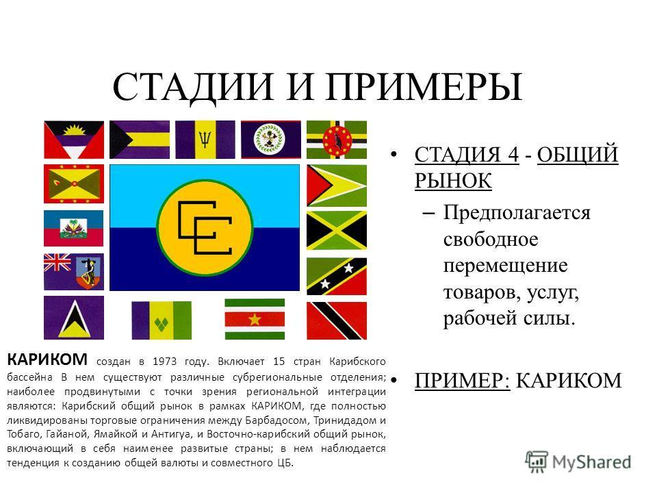 СТАДИЯ 4 - ОБЩИЙ РЫНОК – Предполагается свободное перемещение товаров, услуг, рабочей силы. ПРИМЕР: КАРИКОМ СТАДИИ И ПРИМЕРЫ КАРИКОМ создан в 1973 году. Включает 15 стран Карибского бассейна В нем существуют различные субрегиональные отделения; наибо