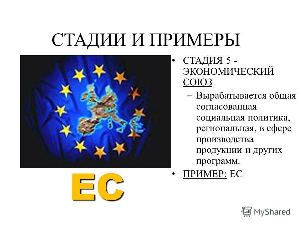 СТАДИЯ 5 - ЭКОНОМИЧЕСКИЙ СОЮЗ – Вырабатывается общая согласованная социальная политика, региональная, в сфере производства продукции и других программ. ПРИМЕР: ЕС СТАДИИ И ПРИМЕРЫ EC
