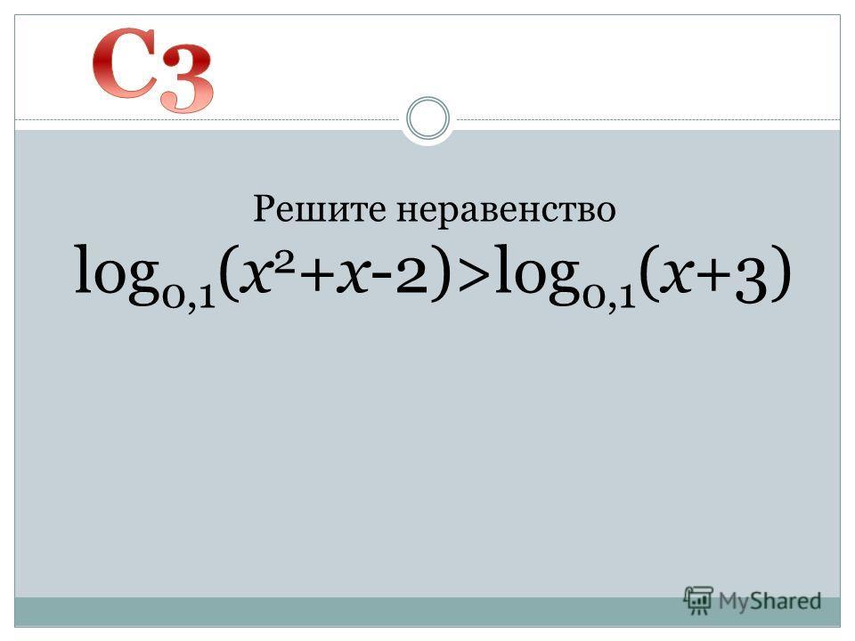 Решите неравенство log 0,1 (x 2 +x-2)>log 0,1 (x+3)