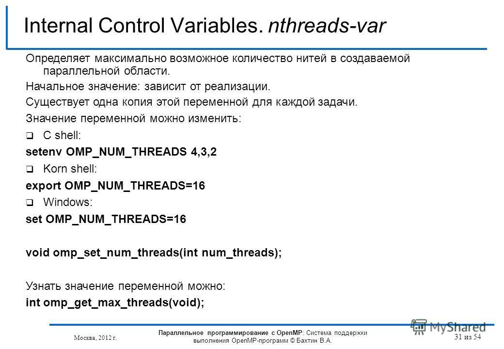 31 из 54 Internal Control Variables. nthreads-var Москва, 2012 г. Параллельное программирование с OpenMP: Система поддержки выполнения OpenMP-программ © Бахтин В.А. Определяет максимально возможное количество нитей в создаваемой параллельной области.