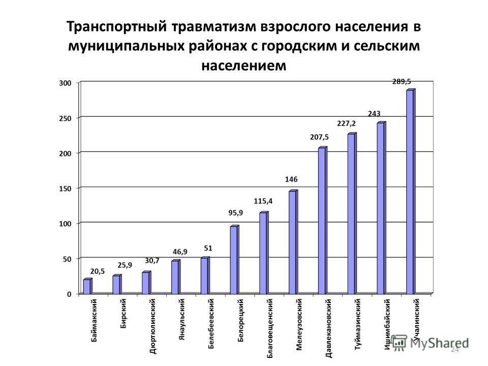 Транспортный травматизм взрослого населения в муниципальных районах с городским и сельским населением 24