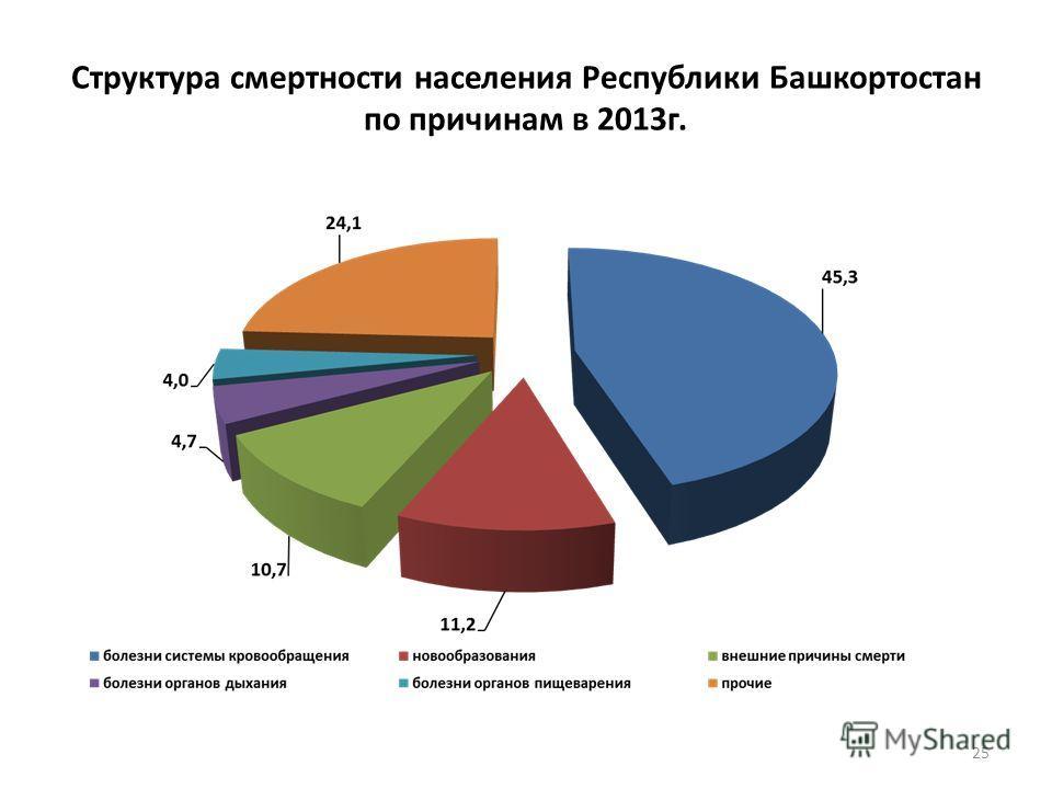 Структура смертности населения Республики Башкортостан по причинам в 2013 г. 25