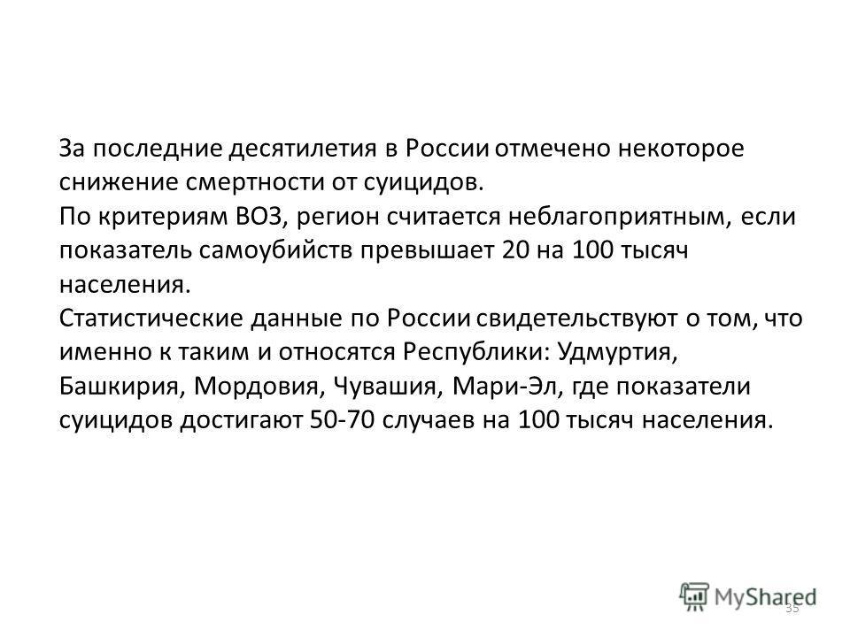 За последние десятилетия в России отмечено некоторое снижение смертности от суицидов. По критериям ВОЗ, регион считается неблагоприятным, если показатель самоубийств превышает 20 на 100 тысяч населения. Статистические данные по России свидетельствуют