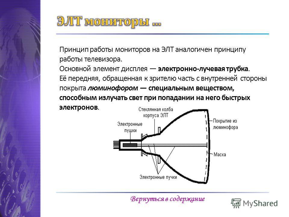 Принцип работы мониторов на ЭЛТ аналогичен принципу работы телевизора. Основной элемент дисплея электронно-лучевая трубка. Её передняя, обращенная к зрителю часть с внутренней стороны покрыта люминофором специальным веществом, способным излучать свет