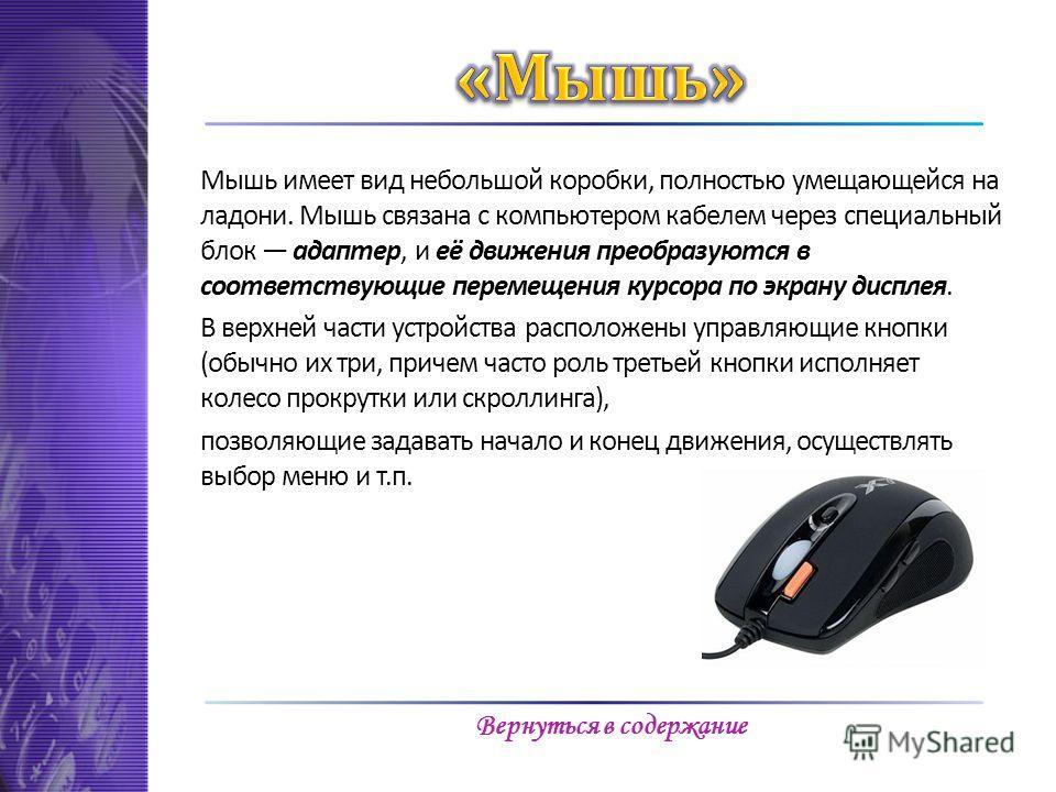 Мышь имеет вид небольшой коробки, полностью умещающейся на ладони. Мышь связана с компьютером кабелем через специальный блок адаптер, и её движения преобразуются в соответствующие перемещения курсора по экрану дисплея. В верхней части устройства расп